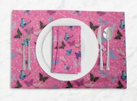 S4Sassy Artistic Butterfly Washable Printed Tablemats With Napkins Set-BT-3E