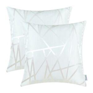 "2Pcs White Cushion Covers Pillow Case Sofa Decor Geometric Abstract Lines 20x20"""