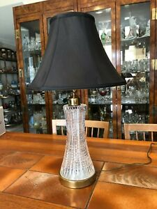 "Waterford Cut Crystal Irish Glass Brass Table Lamp, 15 1/2"" T (Bottom to Socket)"