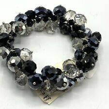 Hematite Bracelet Black Silver Clear Faceted Sparkling Beads Crystal Stretch