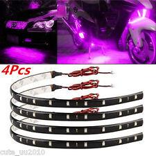 4 X Purple  Super Bright 15 LED 30CM Grill Flexible Light Strip Interior For Car