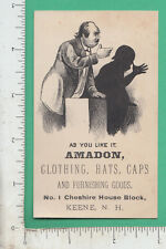 A116 Amadon Clothes trade card Keene, NH As You Like It Shakespeare shadow show