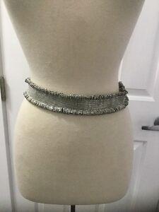 NEW Anthropologie Glass Beaded Metal Fringe Corset Belt Size Small