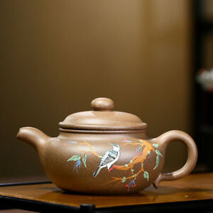 antique teapot floral bird relief Chinese real yixing zisha duan clay marked pot