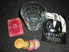 007 James Bond Skyfall Glass Tumbler & 4 Poker Chips - Casino Royale, Spectre