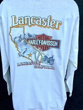 HARLEY DAVIDSON Men's Size XL White Long Slv T Shirt LANCASTER CALIFORNIA Club