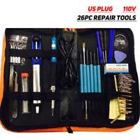 26pcs 110V Electric Soldering Iron Kit W/Adjustable Temperature Welding Iron#
