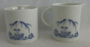 Vintage GUMPS SAN FRANCISCO Blue & White Sugar Bowl Creamer Palm Trees GUM11