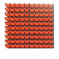 104 teiliges SET Lagersichtboxenwand Stapelboxen mit Montagewand Werkzeugwand