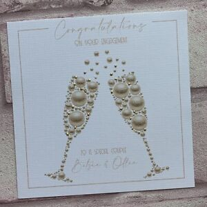 PERSONALISED Handmade  WEDDING DAY ENGAGEMENT ANNIVERSARY CARD Bubbles
