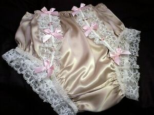 SISSY GOLD SILK SATIN FRONT FRILLS PANTIES KNICKERS BABY PINK KITTY BOWS & BUDS
