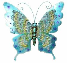 STUNNING BLUE  METAL BUTTERFLY WALL ART WITH BLUE 49CM WITH HANGER