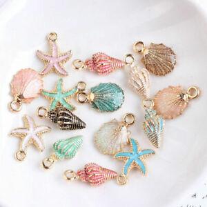 13 Pcs/Set Mixed Starfish Conch Shell Metal Charms Pendant DIY Jewelry Making