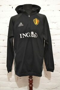 BELGIUM TEAM FOOTBALL TRAINING JACKET 2016 ANORAK HOODIE SOCCER ADIDAS MENS XL