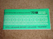 1970 Pontiac G.T.O Factory GM Original First Edition Owners Manual Part # 480232