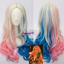 For Suicide Squad Harley Quinn Blond Blau Rosa Mix 24 '' Lang Wavy Perücke Haar