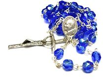 classic JP2 GLASS BLUE ROSARY blessed by POPE FRANCIS blessing Holy Father Rome