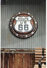 New 24 Inch Route 66 Hollow Curved Heavy Duty Tin Metal Button Garage Wall Sign