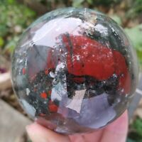 1PC Natural Blood stone Quartz sphere Crystal Ball reiki Healing 60mm+