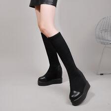 Womens Splice PU Leather Platform Shoes Round Toe Knee High Stretch Socks Boots