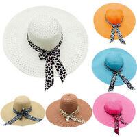 Women Ladies Summer Wide Brim Straw Hat Floppy Beach Sun Foldable Cap