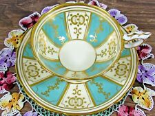 ROYAL STAFFORD BLUE & CREAM PANELS PAINTED GOLD GILT TEA CUP AND SAUCER