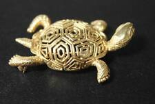 14k Yellow Gold Turtle Brooch Pierced Tortoise Design Pin