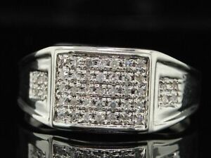 1Ct White Round Brilliant Cut Diamond Men's Ring In Solid 925 Sterling Silver