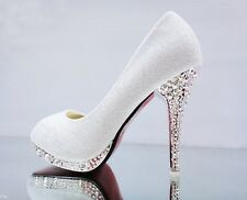 Summer Women Pumps Wedding White Shoes Bridal Bridesmaid High Heel Shoes Size 41