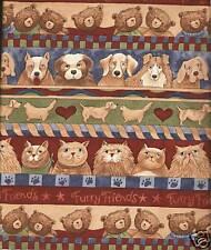 Fat Quarter Furry Friends Stripe Cats Dogs Bears 100% Cotton Quilting Fabric