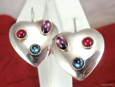 Sterling Silver Simulated Red Blue Purple Stone Heart Earrings
