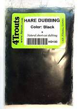 SALE! 100% HARE DUBBING 4Trouts BLACK COLOR for fly tying nymph and wet flies