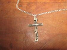 Vintage Abstract Pewter Cross Crucifix Pendant Necklace