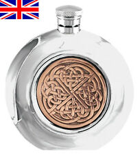 Celtic Rose Round 6oz English Pewter Hip Flask with Free Engraving (cel974)