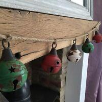Extra Large Metal Sleigh Bells Christmas Garland Bunting Jingle Mantel Vintage