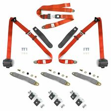 3pt Orange Retractable Seat Belts With Middle 2pt Lap Belt Kit For Bench Seat