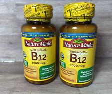 2-Nature Made Vitamin B12 1000mcg Sublingual 50 Micro-Lozenges EXP 2/22