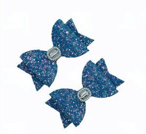 Blue  Glitter Hair Clips BOWS GIRLS CLIPS  Hair bows School Blue Hair clips