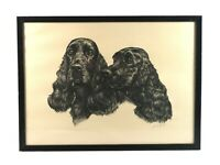 Vintage Signed Ernest Hart Portrait of Dogs Lithograph Print Cocker Spaniels