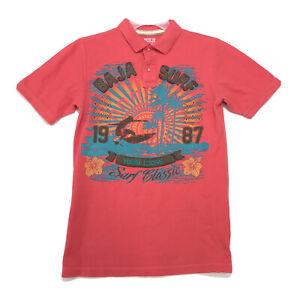 BAJA Surf Polo Shirt Kids Size XL Red Orange Short Sleeve Sew On Hang Loose
