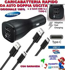 CARICATORE SAMSUNG A3 A5 A7 2017 FAST AUTO DOPPIA USCITA + 2 CAVI USB 3.1 TYPE-C