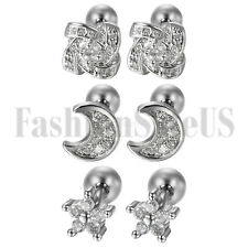6pcs Stainless Steel Womens Cubic Zirconia Cartilage Stud Earrings Screw Back