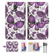 Purple Butterfly Wallet TPU Case Cover For  Motorola Moto G5 Plus -- A017
