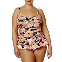 Women's Tropical Escape Palm Tree Rouched Swim Dress Coral/Navy Size 20 W