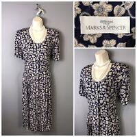 St Michael M&S Navy Mix Floral Dress UK 14 EUR 42 US 10