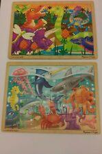 Melissa & Doug Wooden Jigsaw Puzzles Set of 2 Ocean Creatures Dinosaurs 24 piece