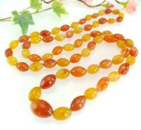 Antique Vintage Long Hand Knotted Yellow & Orange Agate Bead Necklace -Carnelian