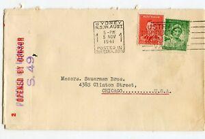 AUSTRALIA WW II CENSORED COVER #S.49, SYDNEY 5 NOV 1941 TO USA           (D717)