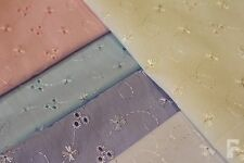BRODERIE ANGLAISE (3 HOLE) EMBROIDERED POLY COTTON FABRIC - Width 150 cm