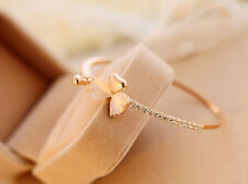 Wholesale Women Fashion Cute  Opal Clover Gold Crystal Rhinestone Bracelet